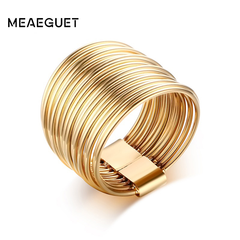 Meaeguet 15mm Feminine Women Ring Jewelry Gold-Color Stainless Steel Hollow Interlocked Stacking Big Round Rings for Wedding 6pcs of stylish color glazed round rings for women