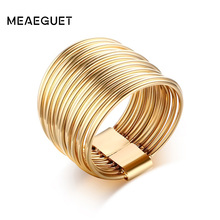 Meaeguet 15mm Feminine Women Ring Jewelry Gold Color Stainless Steel Hollow Interlocked Stacking Big Round Rings