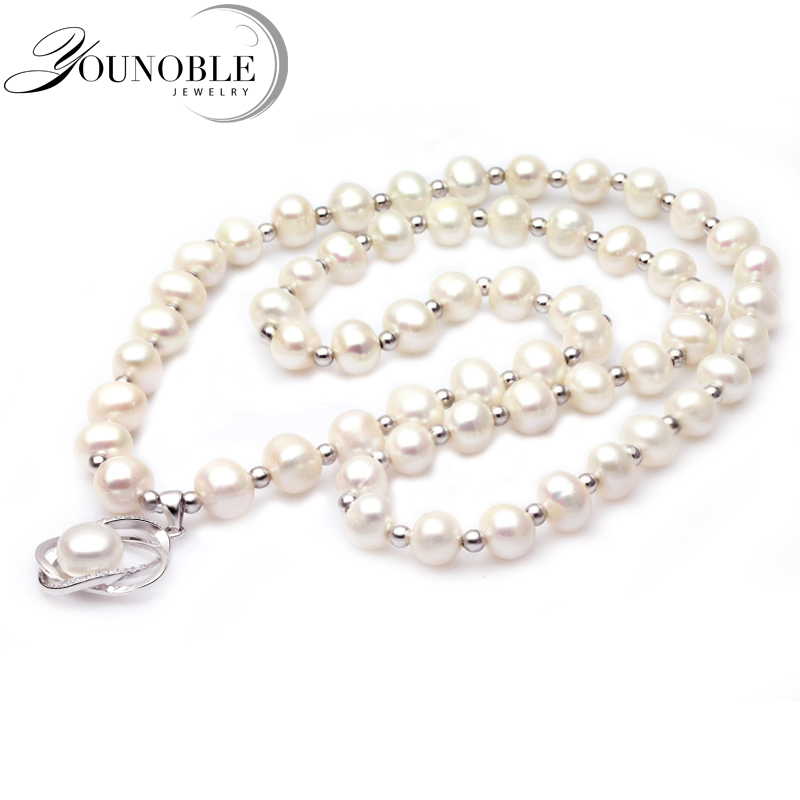 YouNoble High Quality Long Pearl Pendant Necklace Natural Freshwater Pearl 925 Sterling Silver Jewelry Women Statement Necklace