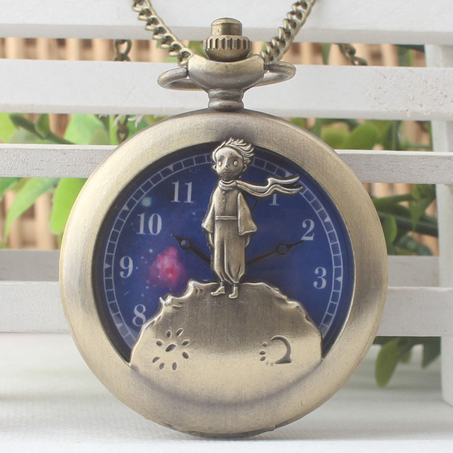 Little Prince Bronze Necklace Pocket Watch Vintage Steampunk Quartz Fob Watches