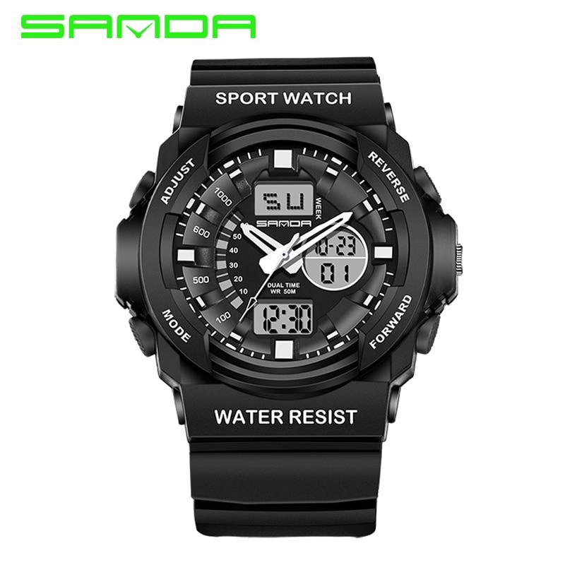 2018 Heißer Verkauf Sanda Dual Time Stoßfest Digitale Sport Weiche Gummi Silikon Armbanduhr Armbanduhren Uhr Für Männer Männlich Junge 241g Schrecklicher Wert