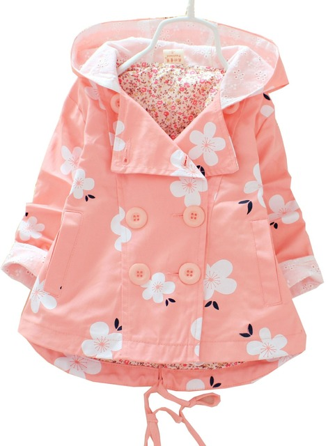 Niños 2016 resorte de la impresión de manga Larga 100% algodón de las muchachas niños de la chaqueta rompevientos ropa de bebé ropa de la muchacha