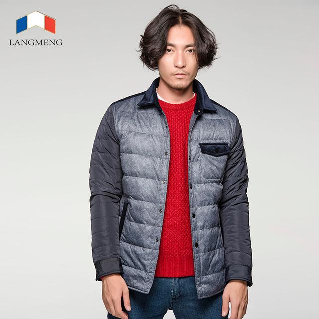 Langmeng 2015 envío libre pato abajo hombres chaqueta de invierno cálido chaquetas de down parka outwear hombres de la marca de espesor delgado casaul abrigos parka