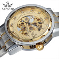 SEWOR Golden Men Skeleton Mechanical Watch Stainess Steel Steel Diamond Watches Transparent Steampunk Montre Homme Wristwatch