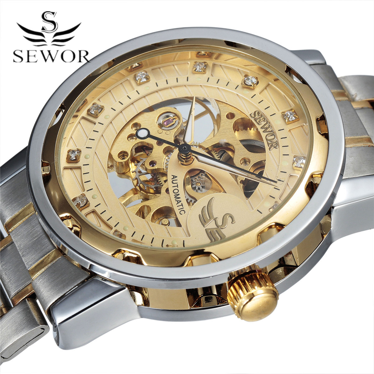 SEWOR Golden font b Men b font Skeleton font b Mechanical b font Watch Stainess Steel