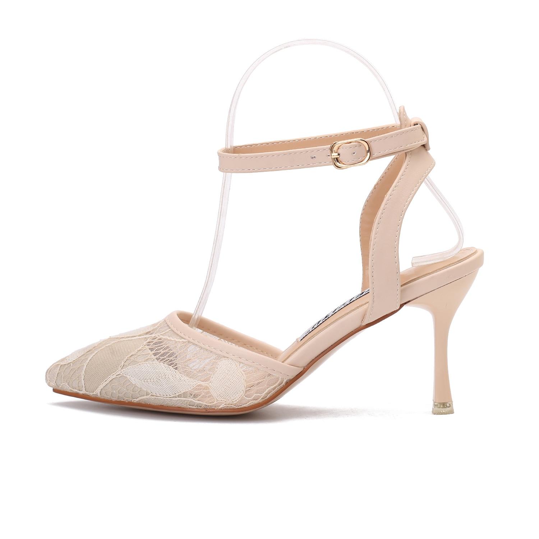 Doux marque femmes chaussures femme sandales de base Air maille boucle Floral bride à la cheville talons minces peu profond Sexy loisirs A844A