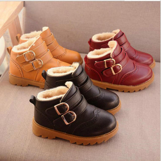 af8de5235 Nueva moda botas de nieve infantil de invierno niñas botas niños zapatos PU  cuero bebé niño