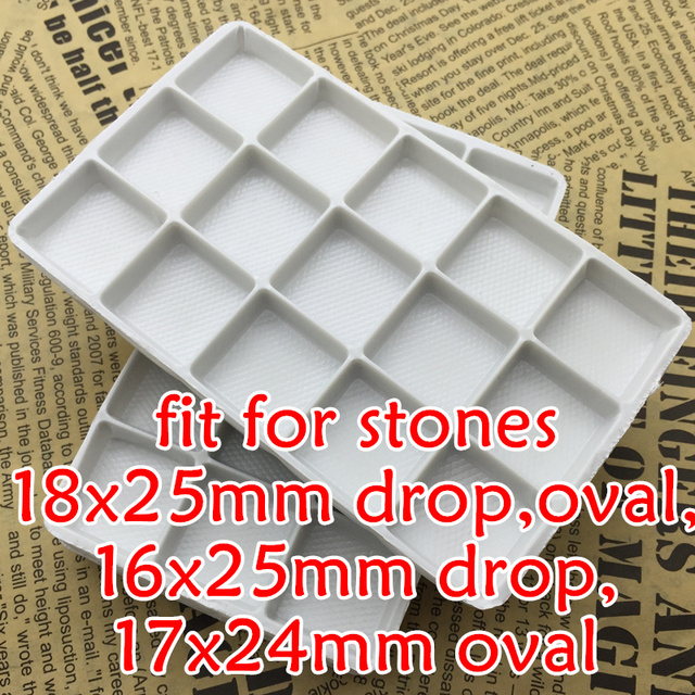 66 шт. Пластик белые подносы для размещения/защиты слеза, Navette, Овальные, Прямоугольные Стеклянные хрустальные маскарадные камни бусины
