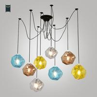1/4/8 Heads Colored Glass Shade Blue Yellow Coffee Transparent Ceiling Chandelier Fixture Nordic Lustre for Living Dining Room