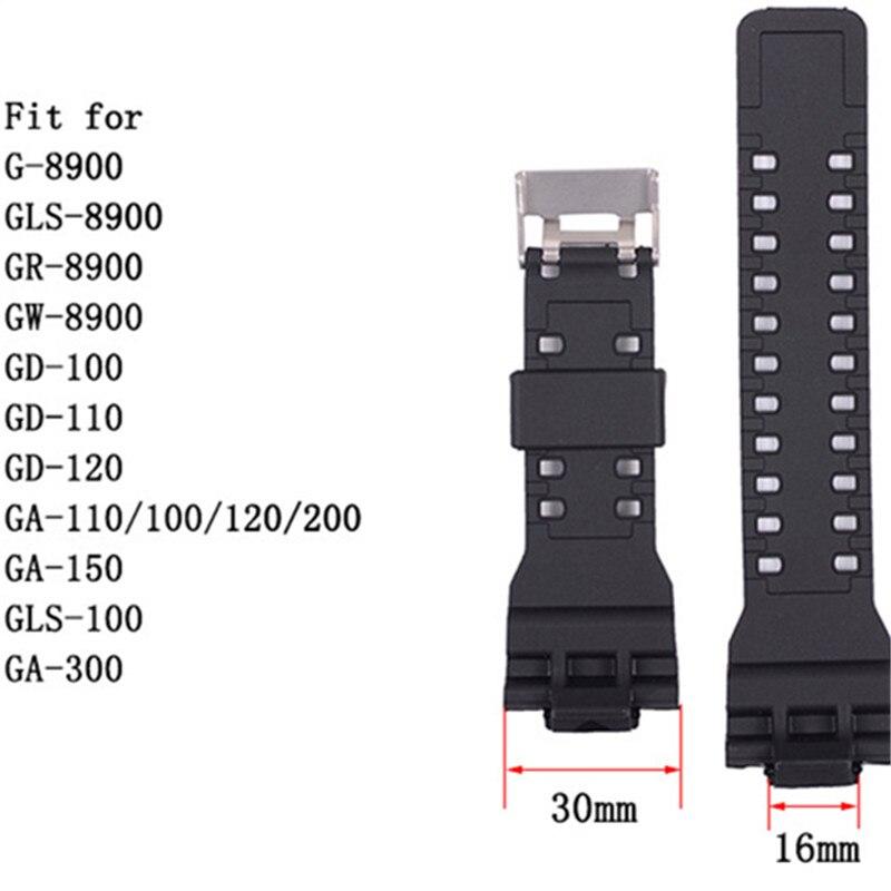 Nuevo ajuste para Casio G Shock 16mm de ancho silicona goma correa de reloj reemplazo negro lujo impermeable accesorios de reloj de pulsera