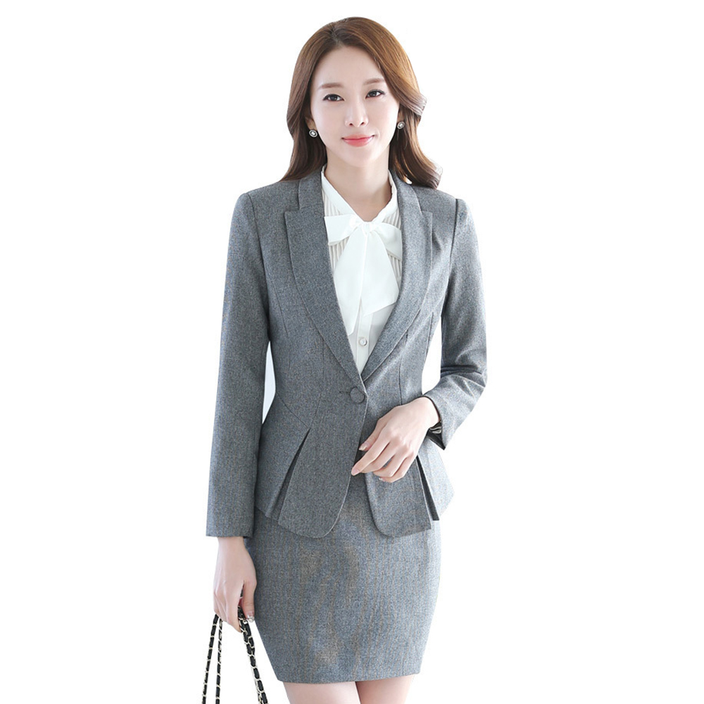 Korean Style Professional Wear Womens Long Sleeves Professional Business Office Set of Womens Slim Clothing Overalls