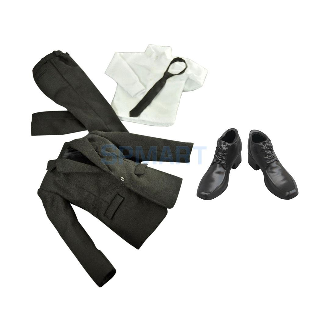 1/6 Scale Black Suit Jacket Pants Shirt Clothing & High Top Dress Shoes For 12'' Action Figure Of Hot Toys Sideshow Accessories