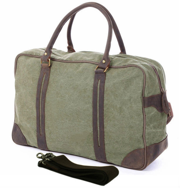 Vintage military Canvas Leather men travel bags Large Canvas men luggage  bags Weekend duffel bags Overnight Bag tote Big-in Travel Bags from Luggage    Bags ... e3f94c547043f