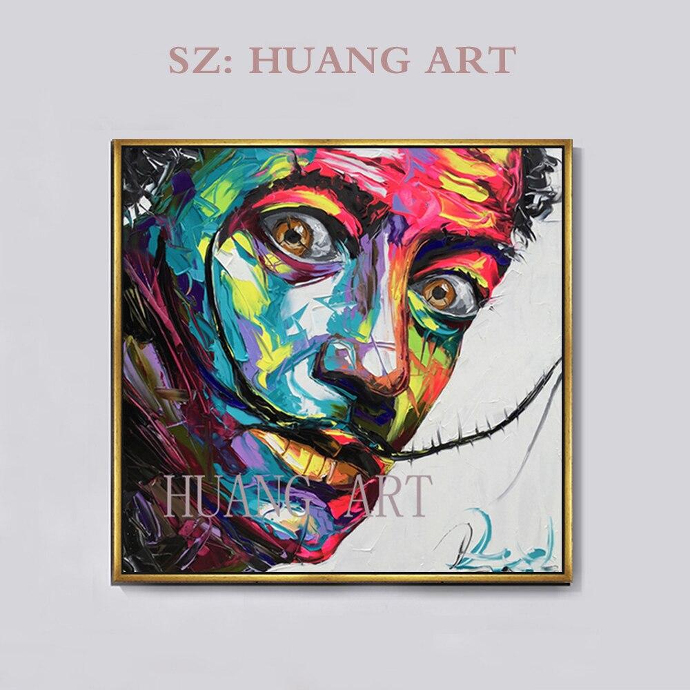 Peinture à l'huile de monopole Alec faite à la main sur toile art urbain décoration murale Salvador Dali autoportrait décoration clubhouse hall