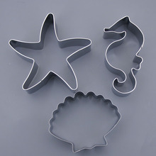3Pcs/Set Ocean Theme Cookies Fondant Mold Sea Star Shells Horse Mould Chocolate Cake Cutter DIY Baking Decorating Tools
