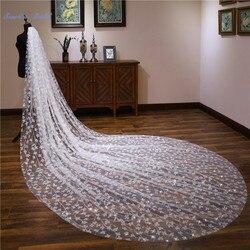 Sapphire Bridal Wedding Accessories 4m Long Leaves Parttern Cathedral Wedding Veil Velo De Novia 1 Tier Bridal Veil with Comb