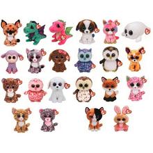 "Pyoopeo Ty Beanie Boos 6"" 15cm Dragon Fish Giraffe Dog Cat Bunny Fox Owl Leopard Plush Stuffed Animal Doll Toy with Heart Tag"