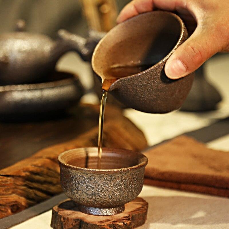 Vintage Pottery Rust Glaze Teacups 5