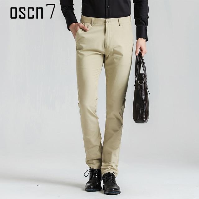 Oscn7 Solid Slim Fit Office Pants Men Business 2017 Mens Dress Formal Plus Size Stretch