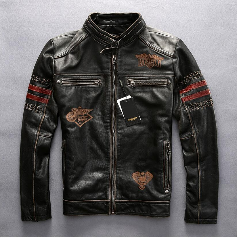 men real leather jacket do old standard retro head layer cowhide leather collar short leather Air Force Flight Jacket brown coat