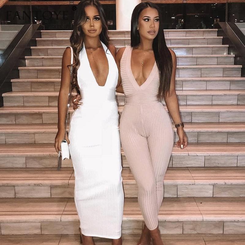 Fantoye Women Halter V-Neck Party Dresses 2019 Autumn Summer Knitted Sexy Slim Bodycon Bandage Long Maxi Dress Vestidos