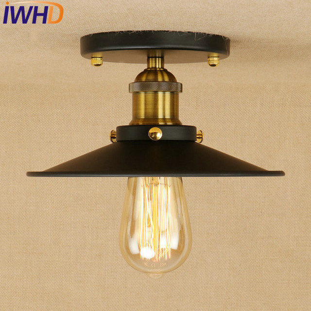 IWHD Edison Loft Style Industrial Ceiling Lamps Antique Iron Vintage  Ceiling Light Fixtures Indoor Lighting Lampara