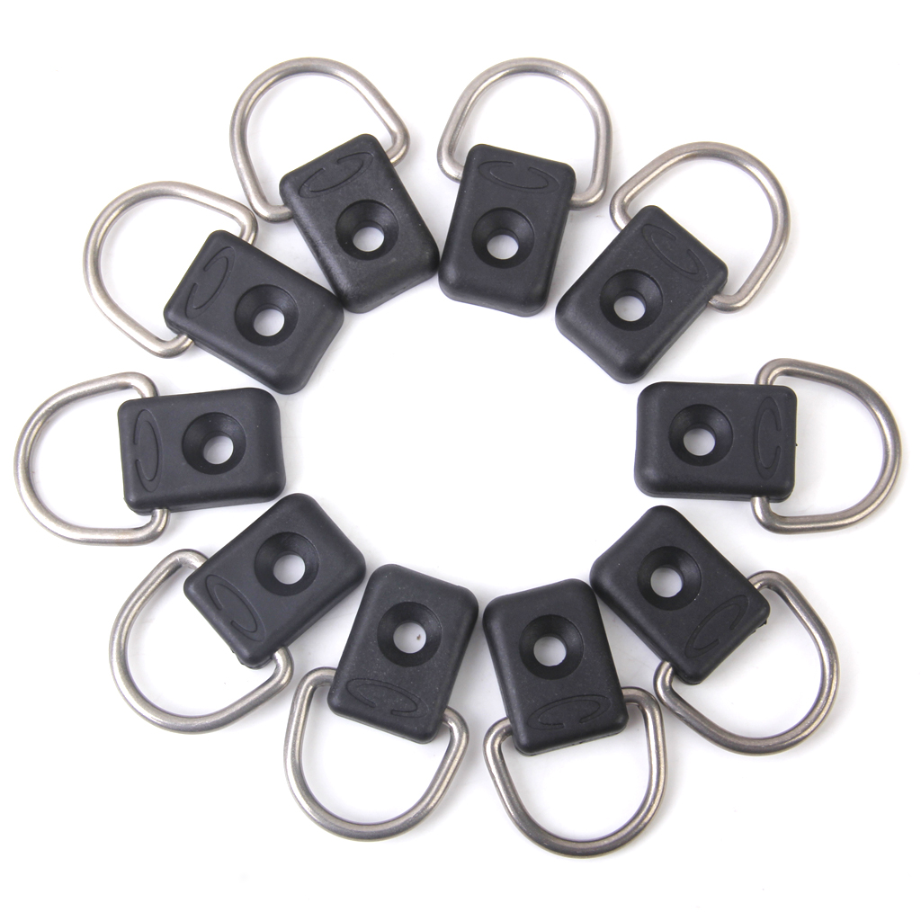Black 10 Pcs Lightweight Nylon Kayak Boat Dinghy Rope Buckle Single Loop Deck Eye 304 Stainless Steel D Rings