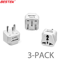 BESTEK 3pcs Israel Grounded Universal Travel Adapter Plug Type H International Travel Adaptor 13A Compact Electrical