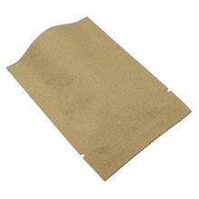 8*12 เซนติเมตร 200 ชิ้น/ล็อตเปิดด้านบนสีน้ำตาลกระดาษคราฟท์กระดาษอลูมิเนียมฟอยล์กระเป๋า Mylar สูญญากาศซีลหัตถกรรมบรรจุกระเป๋า Snack Pack Bag