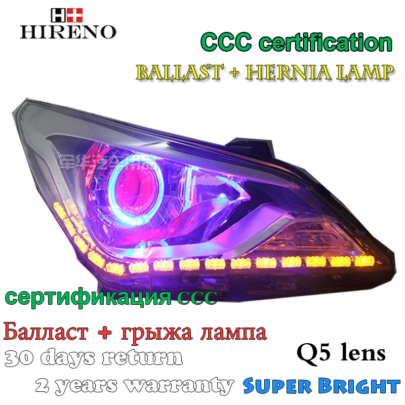 Hireno Modified Headlamp for Hyundai Solaris Verna 2014 Headlight Assembly Car styling Angel Lens Beam HID Xenon 2 pcs hireno headlamp for cadillac xt5 2016 2018 headlight headlight assembly led drl angel lens double beam hid xenon 2pcs