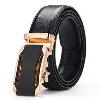 [Veroseice] Designer Cowskin Automatic Buckle Belts for Men Casual Male Leather Strap Gold/black Metal Buckle Men Waist Belt