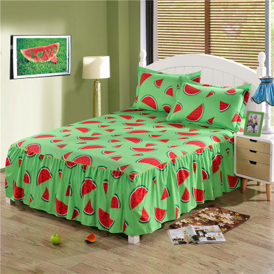 2018 New Flowers Cartoon Bed Skirt Watermelon Fitted Bedspreads Bedclothes for Kids/Bed Cover Bed Sheets Coverlets no Pillowcase