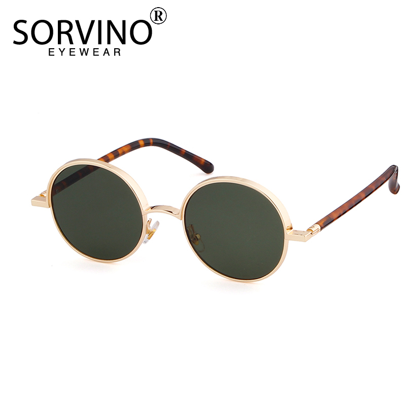 SORVINO Retro Small Round Women Sunglasses 2018 Brand Designer 90s Men Unique Tiny Gold Circle Sun Glasses Clear Shades SVN102