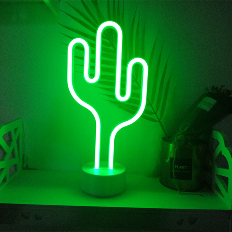 LED Neon Night Light Pineapple Cactus Shape with Base Battery Powered Table Lamp for kids room holiday