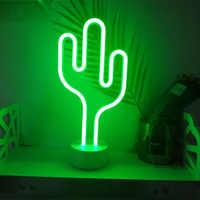 LED Neon Nacht Licht Ananas Kaktus Form mit Basis Batterie Powered Tisch Lampe für kinder zimmer urlaub