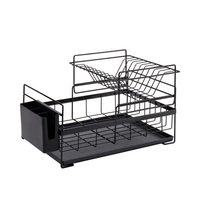2 Tier Iron Chrome Multifunction Dish Rack Bowl Plate Dish Cup Cutlery Drainer Storage Shelf Rack Organizer Holder for Kitchen