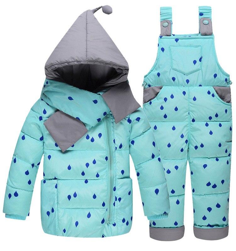 Vestes en duvet pour enfants costume la fille de la mode costume en plumes de canard blanc et pantalon avec deux ensembles de combinaison de ski froid et froid lourd