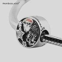 Pandulaso 925 Sterling Silber Perlen Weihnachten Freude Charm Mixed Emaille Charme Passt Ursprüngliches Armbänder für Frauen Schmuck Machen