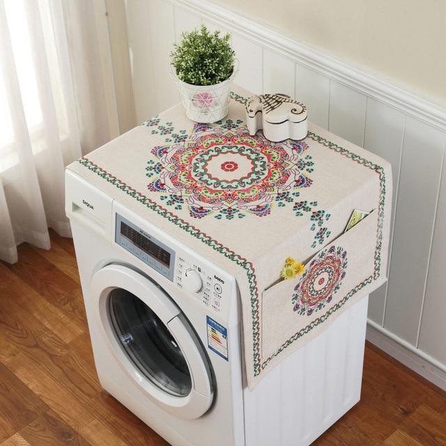 Ретро Европейский цветочный принт стиральная машина пылезащитный чехол для холодильника с карманом для хранения льняной ткани ремесло 1 шт./лот FC119 - Цвет: 1