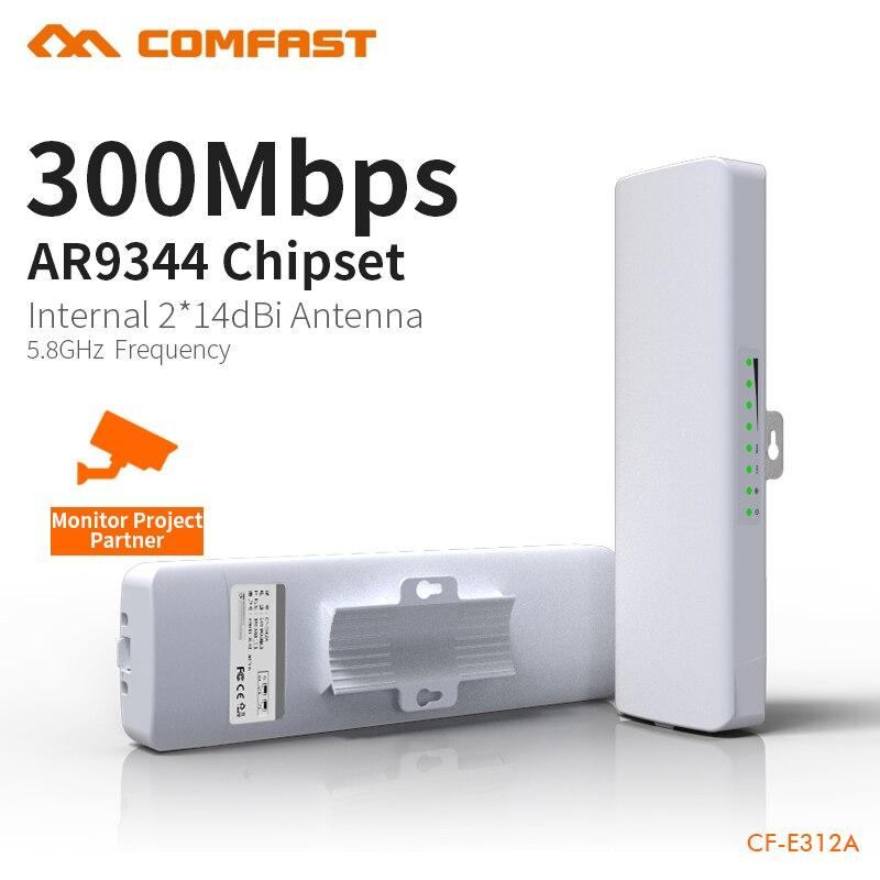 COMFAST 300 Mbps al aire libre CPE 5,8G Wifi puente 5 km chips Watchdog receptor extensor Router CPE 48 V POE router WIFI 1 par CF-E312A