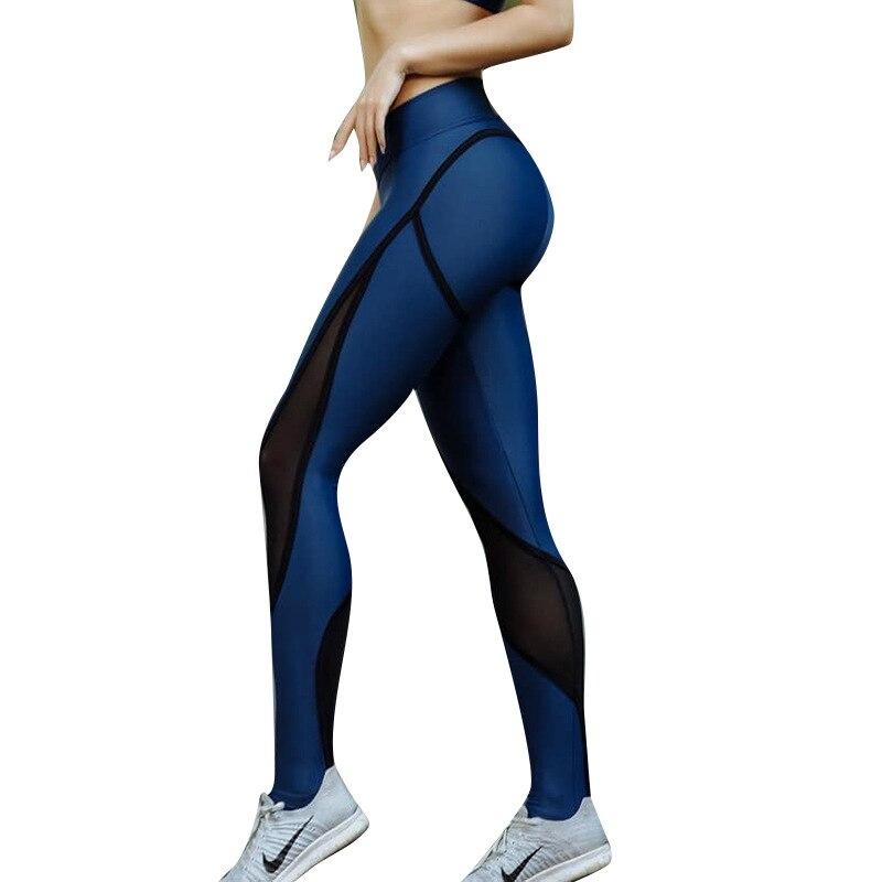 Nueva llegada malla insertar Leggings mujeres Fitness Push Up Leggings Color azul Otoño Invierno pantalones de entrenamiento Leggins