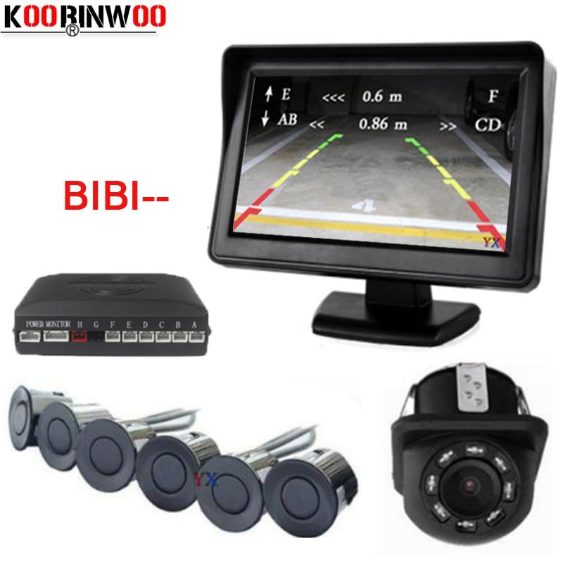 Koorinwoo Car Visible Parking Assit 4.3 TFT Mirror Monitor With Rear View Camera and Video Reverse Radar Parking Sensor 6 Front