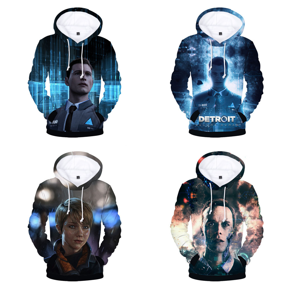 Detroit Become Human Conno Cosplay Hoodies Jackets Hip Hop Pullovers Punk Style Winter Capless Sweatshirts Hot Play Game Detroit