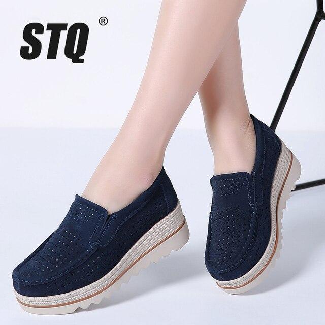 STQ Mùa Xuân 2019 đế phẳng Giày nền tảng Giày Sneakers Da Da Lộn Giày slip on đế gót dây leo Mộc mạch trà 3088