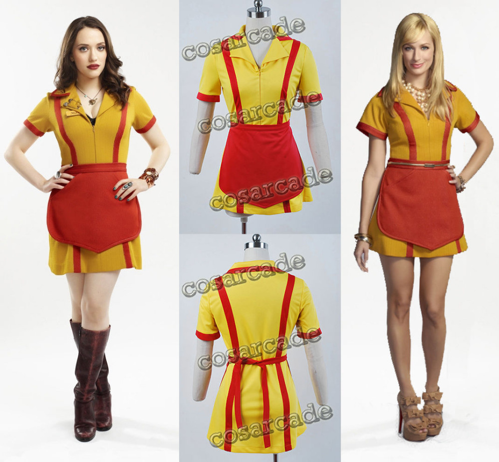 2 Broke Filles Max Caroline Serveur Uniforme Dress Cosplay Costume