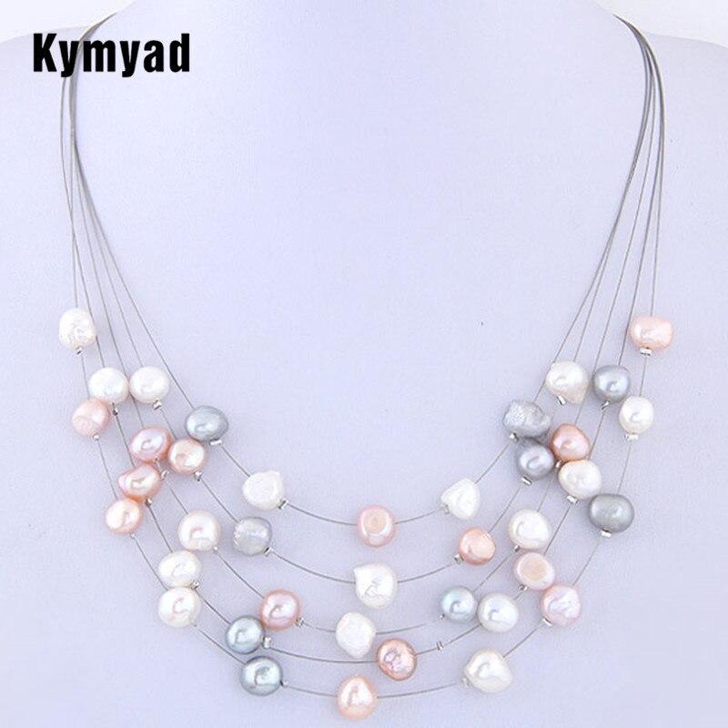 Kymyad New Choker Collier Femmes Imitation Perle Colliers et Pendentifs Multi couche Maxi Déclaration Colliers Vintage Accessoires