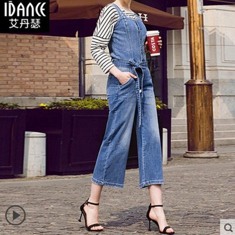 Livraison gratuite 2018 été Jeans grande taille 25-30 pantalon pour femmes salopette combinaison et barboteuses jambe large Denim 3/4 cheville pantalon