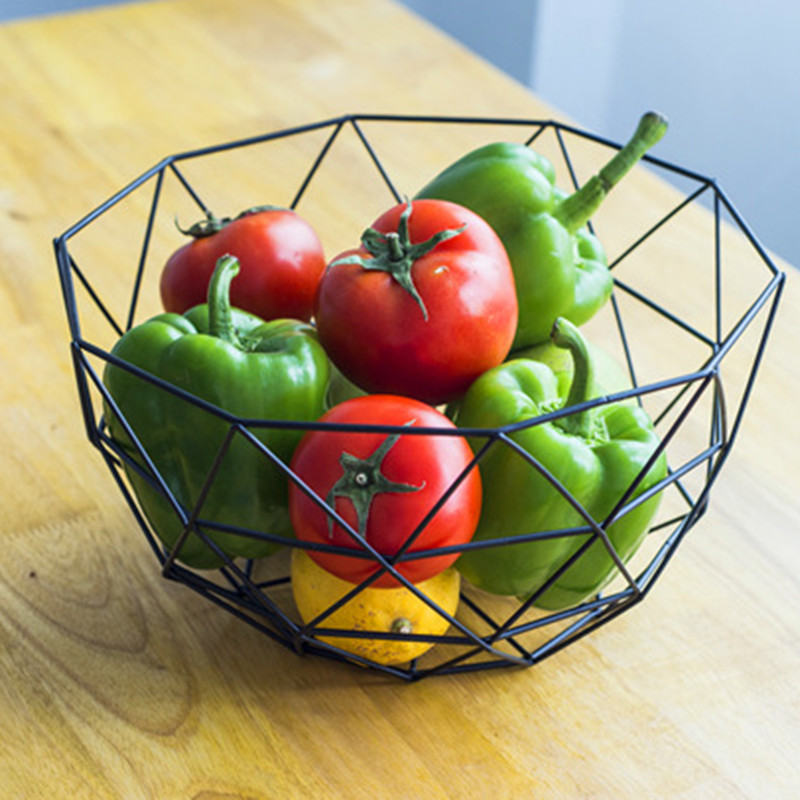1 PC 27*14.5*13.5cm Modern Iron Art Fruit Vegetable Bowl Tray Plate Snack Candy Storage Container Basket Kitchen Decoration line art