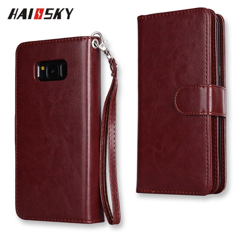 HAISSKY Флип кожаный чехол для samsung Galaxy S5 S6 <font><b>S7</b></font> край S8 Плюс стоит кошелек карты держатель Обложка для samsung s8 телефон случаях