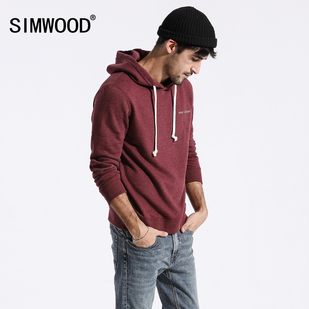 SIMWOOD Sweatshirts Men Solid Color Casual Hoodies  2019 Autumn New Embroidered Hooded Pullover Joggers Hoodie Plus Size 180211